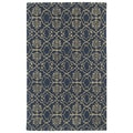 Hand-tufted Runway Denim/ Light Brown Wool Rug (9'6x13')