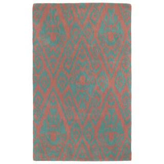 Hand-tufted Runway Pink/ Teal Ikat Wool Rug (9'6x13')