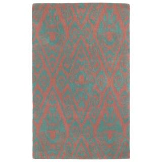 Hand-tufted Runway Pink/ Teal Ikat Wool Rug (8'x11')