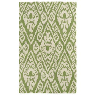 Hand-tufted Runway Green/ Ivory Ikat Wool Rug (9'6 x 13')