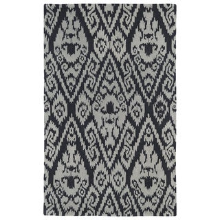 Hand-tufted Runway Charcoal/ Grey Ikat Wool Rug (8' x 11')