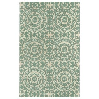 Hand-tufted Runway Mint/ Ivory Suzani Wool Rug (8'x11')