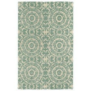 Hand-tufted Runway Mint/ Ivory Suzani Wool Rug (9'6x13')