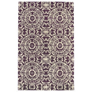 Hand-tufted Runway Purple/ Ivory Suzani Wool Rug (8'x11')