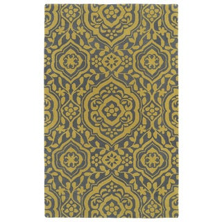 Hand-tufted Runway Grey/ Yellow Damask Wool Rug (8' x 11')