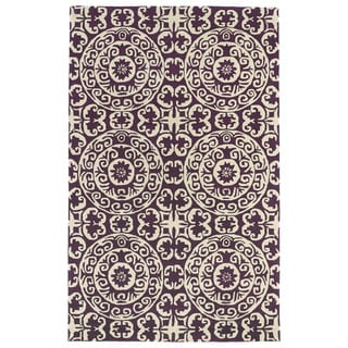 Hand-tufted Runway Purple/ Ivory Suzani Wool Rug (9'6 x 13')