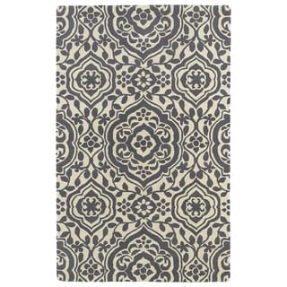 Hand-tufted Runway Charcoal/ Ivory Damask Wool Rug (8' x 11')