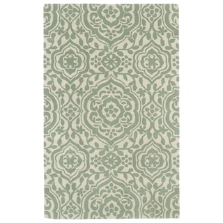 Hand-tufted Runway Mint/ Ivory Damask Wool Rug (8' x 11')