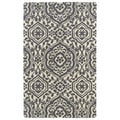 Hand-tufted Runway Charcoal/ Ivory Damask Wool Rug (9'6 x 13')