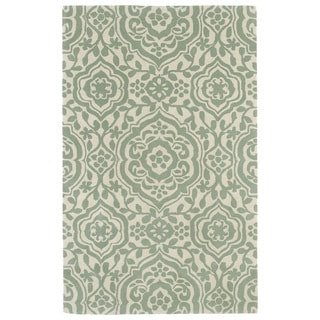 Hand-tufted Runway Mint/ Ivory Damask Wool Rug (9'6 x 13')