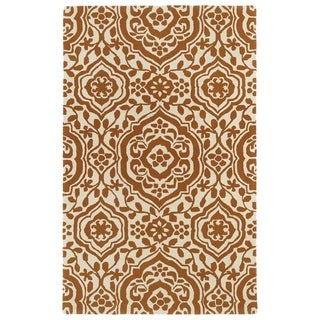 Hand-tufted Runway Pumpkin/ Ivory Damask Wool Rug (8' x 11')