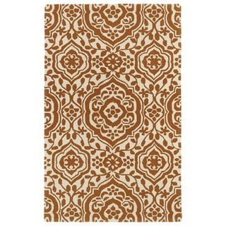 Hand-tufted Runway Pumpkin/ Ivory Damask Wool Rug (9'6 x 13')