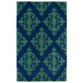 Hand-tufted Runway Navy/ Emerald Damask Wool Rug (9'6 x 13')