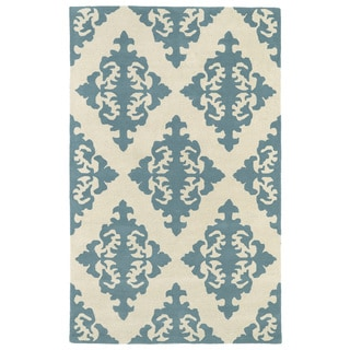 Hand-tufted Runway Blue/ Ivory Damask Wool Rug (9'6 x 13')