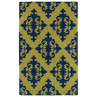 Hand-tufted Runway Navy/ Gold Damask Wool Rug (8' x 11')