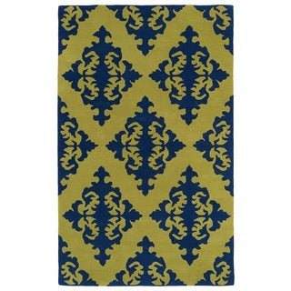 Hand-tufted Runway Navy/ Gold Damask Wool Rug (9'6 x 13')