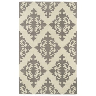 Hand-tufted Runway Light Brown/ Ivory Damask Wool Rug (8' x 11')