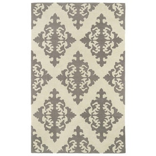 Hand-tufted Runway Light Brown/ Ivory Damask Wool Rug (9'6 x 13')