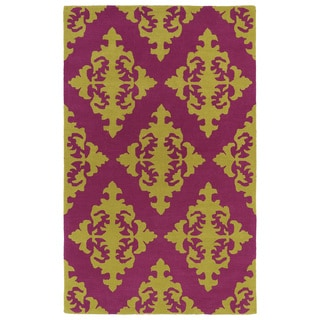 Hand-tufted Runway Pink/ Gold Damask Wool Rug (8' x 11')