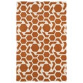 Hand-tufted Cosmopolitan Geo Orange/ Ivory Wool Rug (2' x 3')