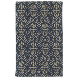 Hand-tufted Runway Denim/ Light Brown Wool Rug (2' x 3')