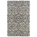Hand-tufted Runway Charcoal/ Ivory Damask Wool Rug (2' x 3')