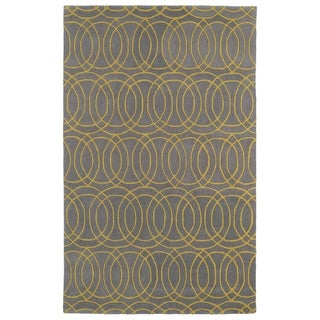 Hand-tufted Cosmopolitan Circles Yellow/ Light Brown Wool Rug (3' x 5')