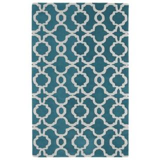 Hand-tufted Cosmopolitan Trellis Teal/ Ivory Wool Rug (3' x 5')