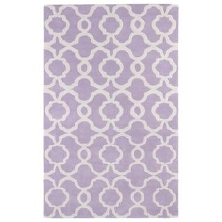 Hand-tufted Cosmopolitan Trellis Lilac/ Ivory Wool Rug (5' x 7'9)