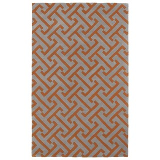 Hand-tufted Cosmopolitan Orange/ Grey Wool Rug (5' x 7'9)
