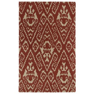 Hand-tufted Runway Red/ Light Brown Ikat Wool Rug (5' x 7'9)