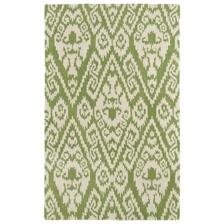 Hand-tufted Runway Green/ Ivory Ikat Wool Rug (5' x 7'9)