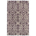 Hand-tufted Runway Suzani Purple/ Ivory Wool Rug (5' x 7'9)