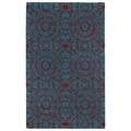Hand-tufted Runway Suzani Peacock Blue/ Red Wool Rug (3' x 5')