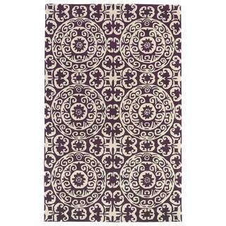Hand-tufted Runway Suzani Purple/ Ivory Wool Rug (3' x 5')