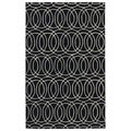 Hand-tufted Cosmopolitan Circles Black/ Ivory Wool Rug (5' x 7'9)