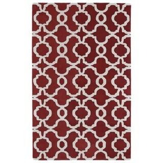 Hand-tufted Cosmopolitan Trellis Red/ Ivory Wool Rug (5' x 7'9)