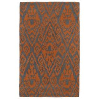 Hand-tufted Runway Ikat Orange/ Charcoal Wool Rug (3' x 5')