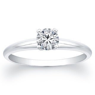 14k White Gold 3/4ct TDW Round Diamond Solitaire Ring (F-G, SI2-SI3)