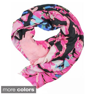 Micky London 'Evil Forest' Multicolored Floral Print Silk Blend Women's Scarf
