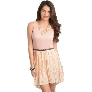 Feellib Women's Pink and Peach Sleeveless Mixed Fabric Dress