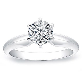 14k White Gold 1t TDW White Diamond Solitaire Ring (G-H, SI2-SI3)