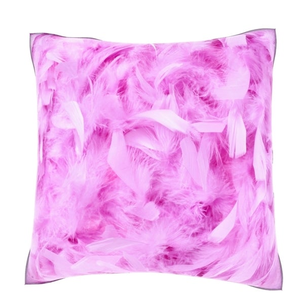 Fluffy Pink Feathers 18-inch Velour Throw Pillow