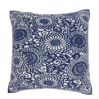 Abstract Japenese Floral 18-inch Velour Throw Pillow