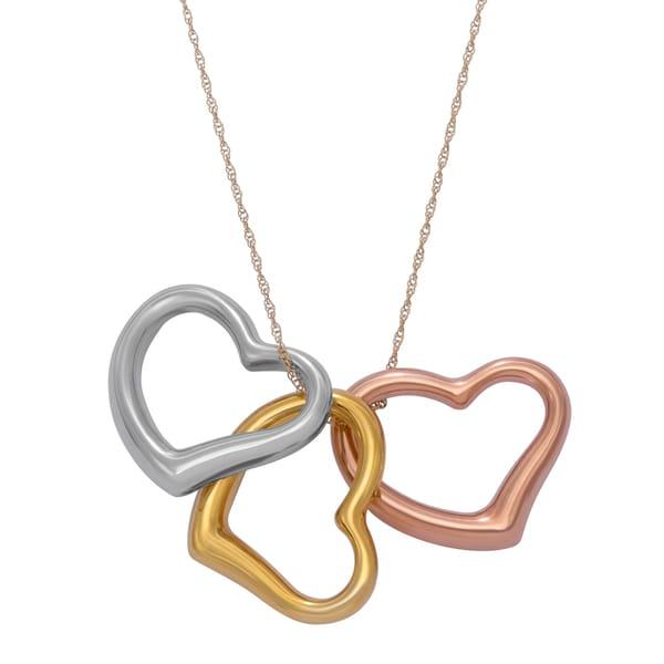 Gioelli 14k Tri-Gold Triple Open Heart Pendant Necklace