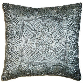 Celebration Scallop Design Silver Beaded Decorative Pillows (Set of 2)