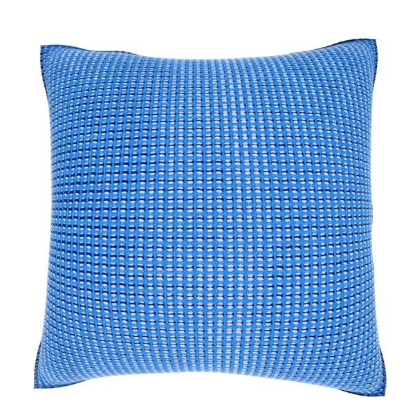 Blue Textured Grid 18-inch Velour Throw Pillow