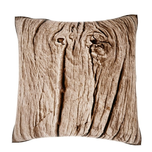 Natural Wood Grain 18-inch Velour Throw Pillow