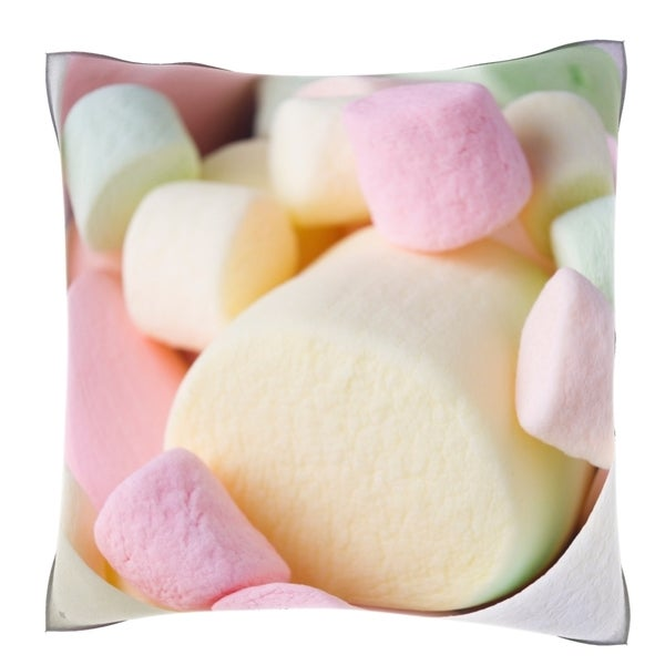 Multi Colored Marshmallows 18-inch Velour Throw Pillow