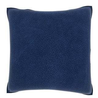 Blue Leather Texture 18-inch Velour Throw Pillow